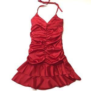 Jessica McClintock 80's Style Red Halter Dress 10